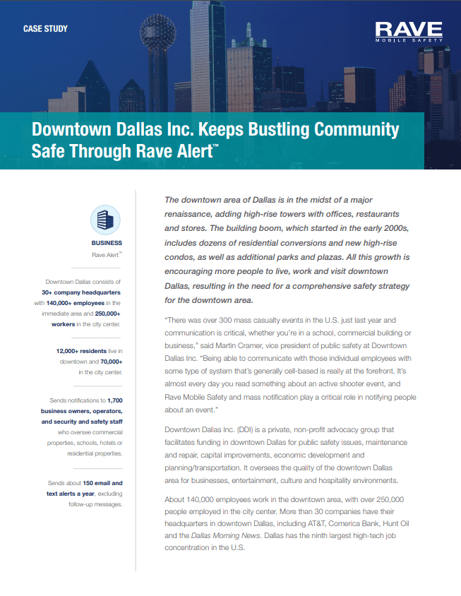 Downtown Dallas Inc. Keeps Bustling Community Safe Through Rave Alert™