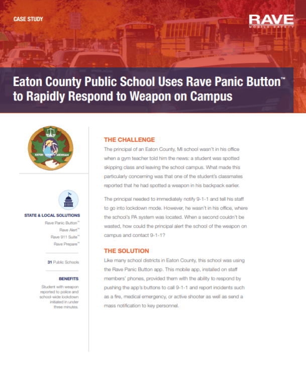 Case Study: Eaton County Public School Uses Rave Panic Button to Rapidly Respond to Weapon on Campus