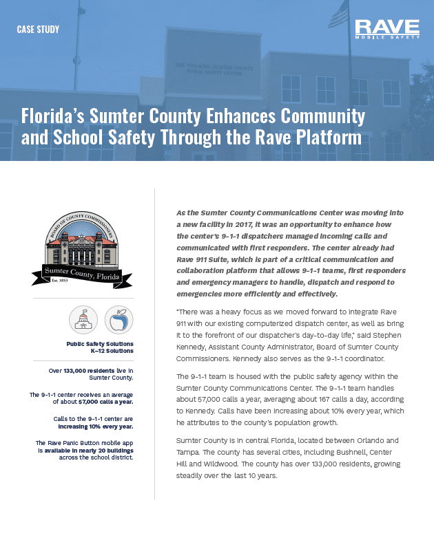 Florida's Sumter County Enhances Community and School Safety Through the Rave Platform Cover