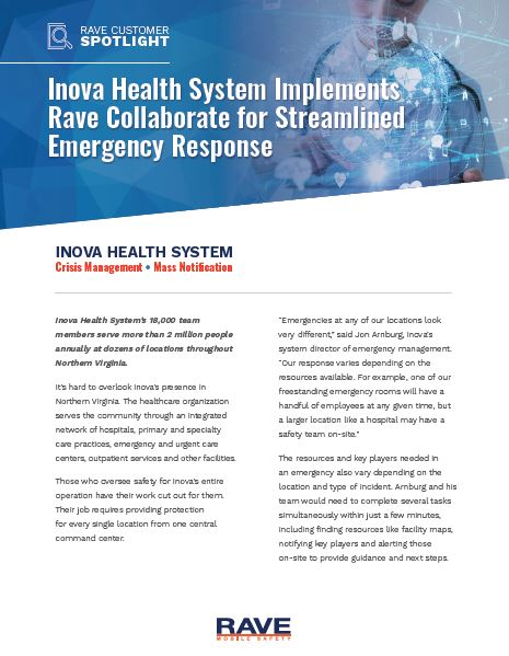 Inova Health System Implements Rave Collaborate for Streamlined Emergency Response