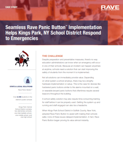 Case Study: Seamless Rave Panic Button Implementation Helps Kings Park, NY School District Respond to Emergencies