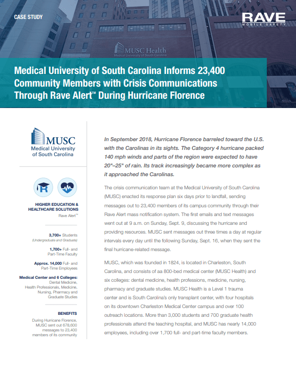Case Study: Hurricane Crisis Communication at the Medical University of South Carolina