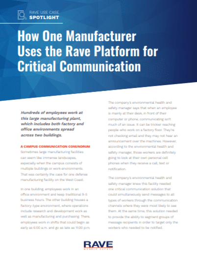 How One Manufacturer Uses the Rave Platform for Critical Communication