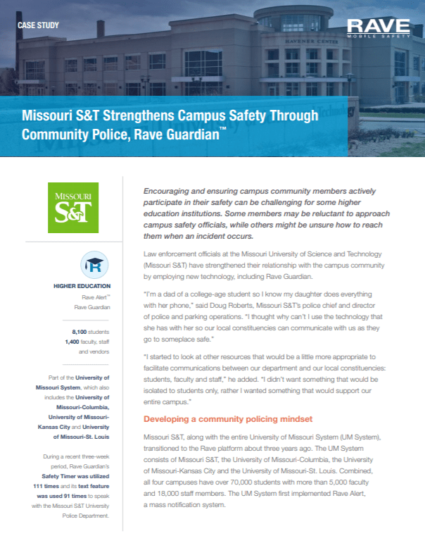 Missouri S&T Strengthens Campus Safety Through Community Police, Rave Guardian™
