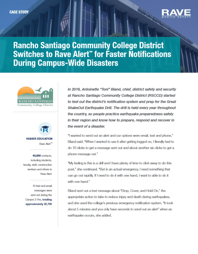 Case Study: Rancho Santiago Community College District Switches to Rave Alert™ for Faster Notifications During Campus-Wide Disasters