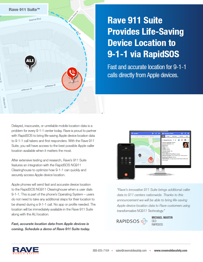 Rave 911 Suite Provides Life-Saving Device Location to 9-1-1 via RapidSOS