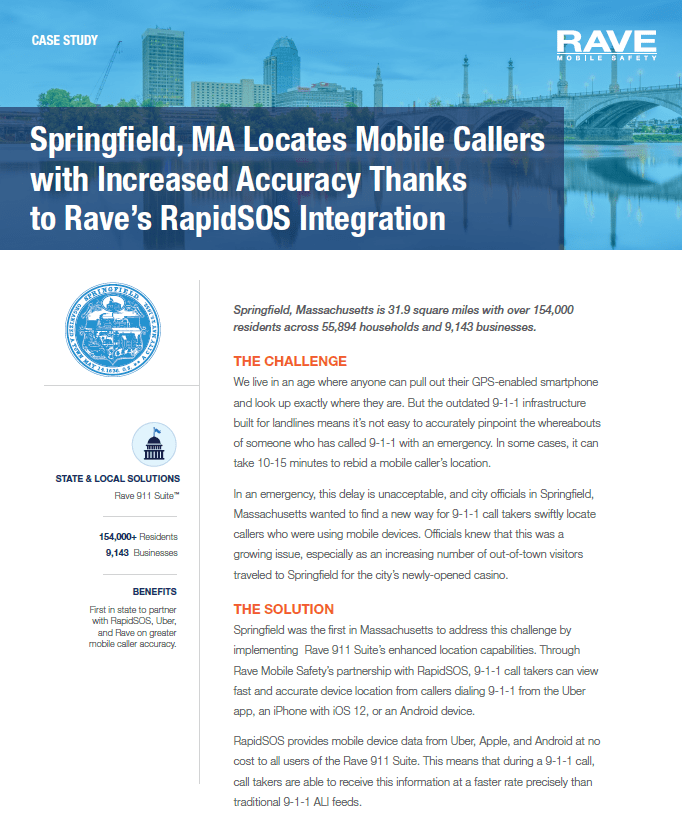 Case Study: Springfield, MA Locates Mobile Callers with Increased Accuracy