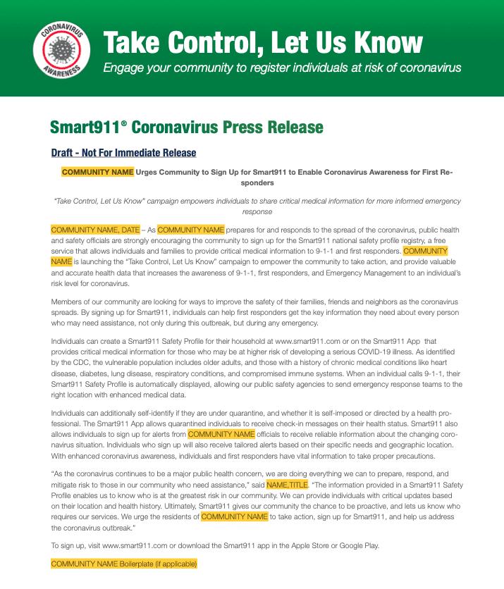 Smart911 Press Release Template - Coronavirus