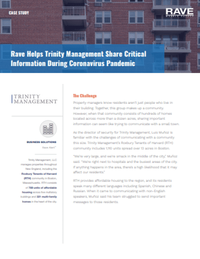 Rave Helps Trinity Management Share Critical Information During Coronavirus Pandemic