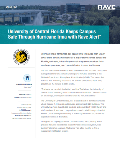 Case Study: University of Central Florida Keeps Campus Safe Through Hurricane Irma with Rave Alert™