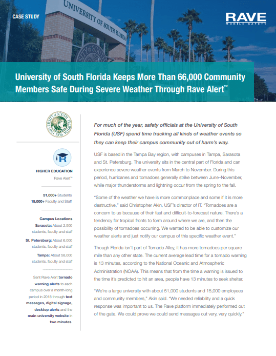University of South Florida Keeps More Than 66,000 Community Members Safe During Severe Weather Through Rave Alert™