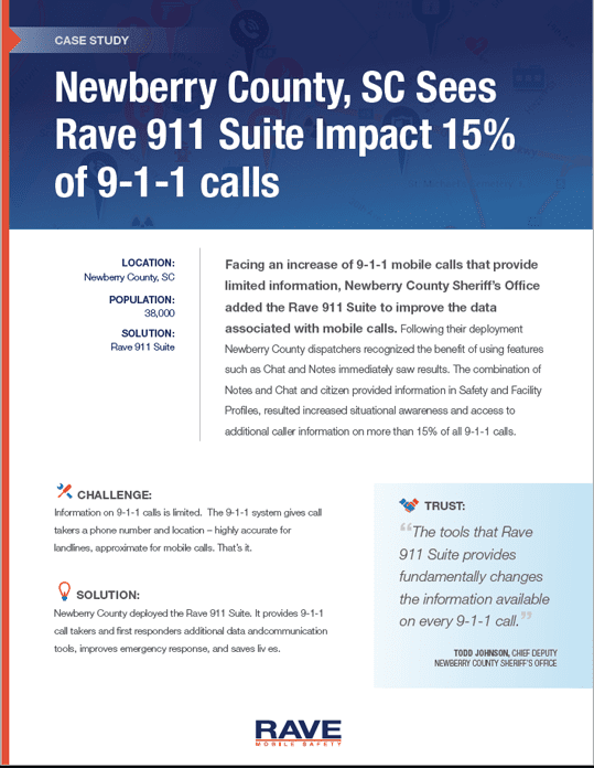 Newberry County, SC Sees Rave 911 Suite Impact 15% of 9-1-1 calls