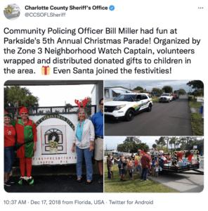 community policing tweet Christmas time