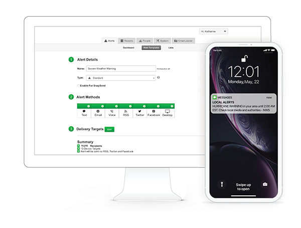 Rave alert desktop and mobile view