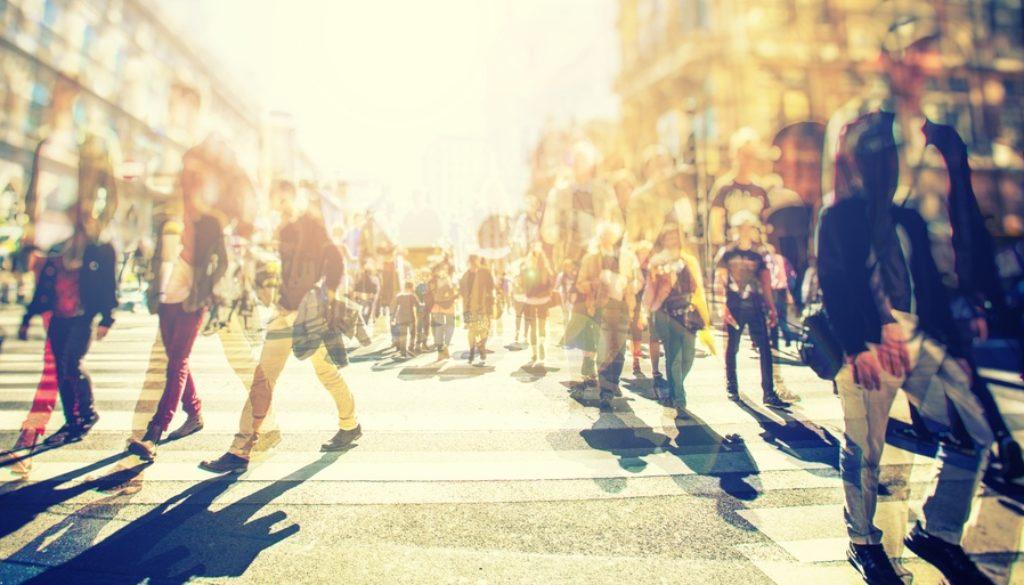 people walking in a crowd
