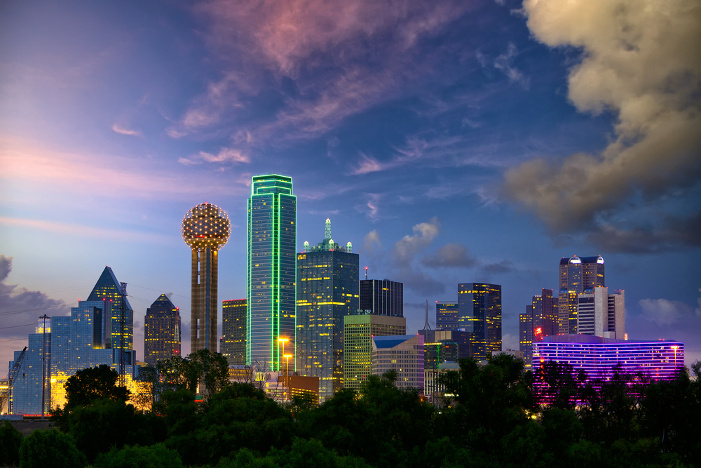 Downtown Dallas skyline at night