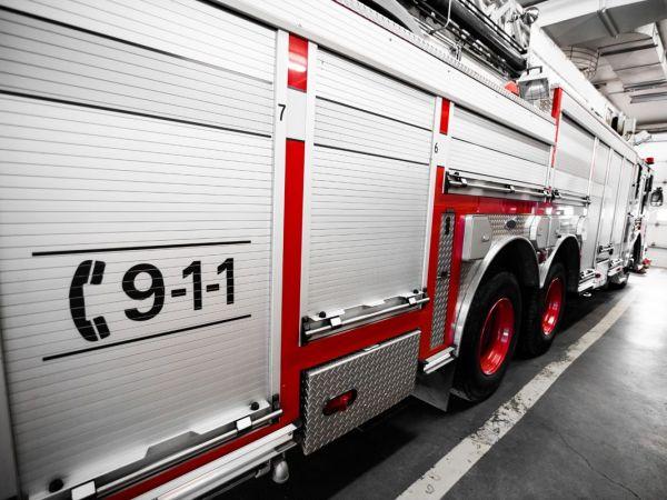firetruck in garage