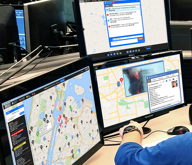rave 911 suite dashboards in use by 911 operator