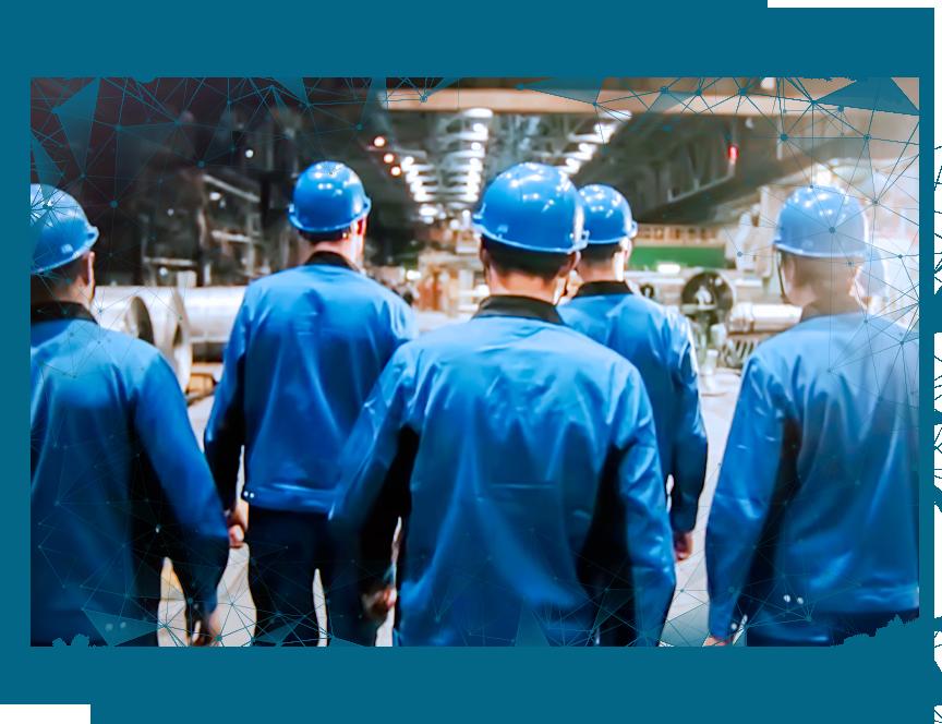 manufacturing workers walking hardhats on vignette