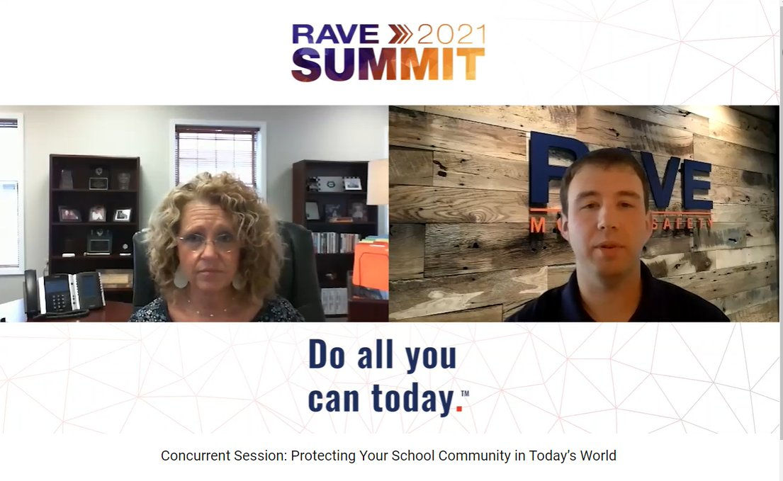 view of a screen from a presentation at Rave Summit with the logo and a woman in an office on the left side and a man in front of the rave log on the right and the session name below them